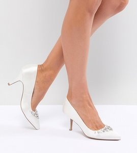 Read more about Qupid bridal embellished pointed heels - ivory satin