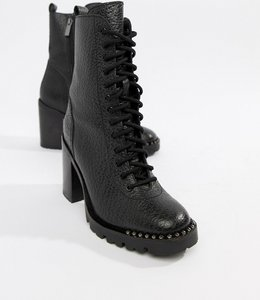 Read more about Bronx tumbled leather lace up heeled ankle boots - black