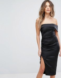 Read more about Lavish alice satin ruched bandeau midi dress - black