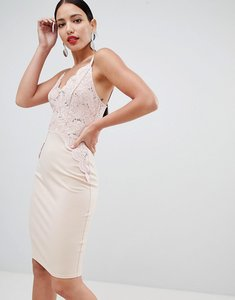 Read more about Flounce london sequin lace cami bodycon dress in pink - dusky pink