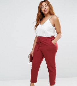 Read more about Asos curve ankle grazer cigarette trouser in crepe - dusky plum