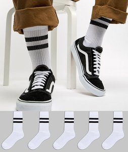 Read more about Asos sports style socks in white with stripes 5 pack - white