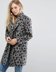 Read more about Glamorous smart coat in monochrome leopard print - grey leopard