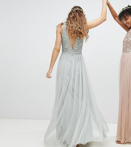 Read more about Maya sleeveless sequin bodice tulle detail maxi bridesmaid dress with cutout back - green lily