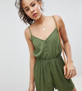Read more about Asos design tall playsuit in crinkle with button front - khaki