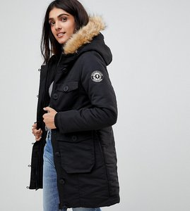 Read more about Brave soul tall riverdale heavy parka with rubberised trims - black