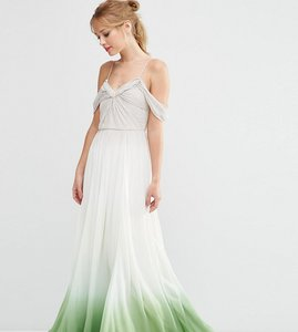 Read more about Asos tall salon ombre ruched maxi dress - green cream