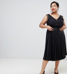 Read more about Lost ink plus pleated midi skirt - black