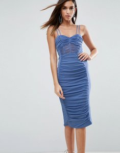Read more about Asos mesh ruched strappy midi dress - blue