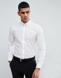 Read more about Farah shirt with collar bar in slim fit with stretch - white
