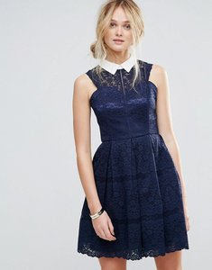Read more about Chi chi london structured lace skater dress with contrast collar - navy