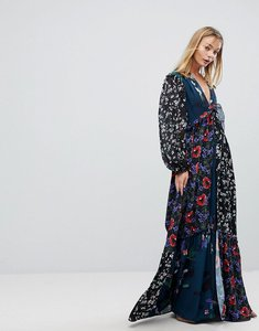 Read more about French connection patchwork maxi dress - teal multi