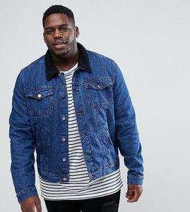 Read more about Another influence plus denim jacket with borg collar - blue