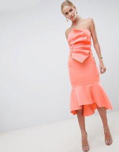 Read more about Asos design premium scuba button detail ruffle midi dress with pephem