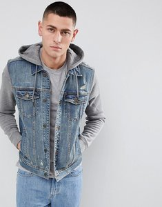 Read more about Hollister hooded denim jacket with grey sweat sleeves and hood in mid wash - mid wash