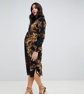 869ec704f86f Read more about Hope ivy maternity long sleeve pencil dress in mirrored floral  print - black
