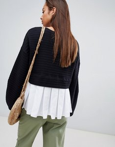 Read more about French connection pleat back jersey top - black white