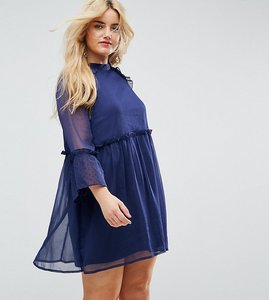 Read more about Influence plus smock dress with flare sleeve - navy