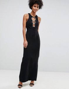 Read more about Asos hardware open back maxi dress - black
