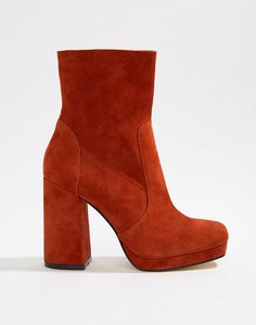 Read more about Office aba red suede block heeled boot - red suede