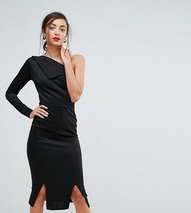 Read more about Asos tall double split one shoulder midi dress - black