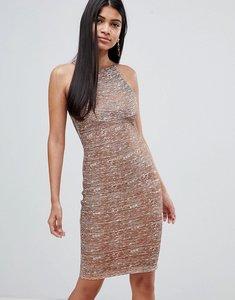 Read more about Rare london metallic bandage high neck midi dress - rose gold