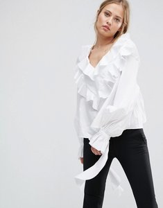 Read more about Style mafia frill detail woven top - white