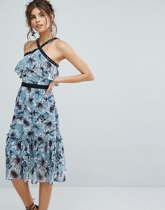 Read more about True decadence floral midi dress with peplum hem and eyelet detail - blue floral print