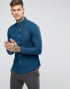 Read more about Farah brewer slim fit oxford shirt in blue - atlantic 403