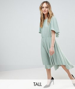 Read more about Y a s tall floaty midi dress with gold dot print - green