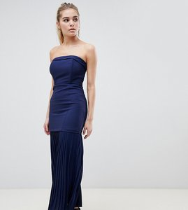 Read more about Dark pink sleek bandeau maxi dress with pleated hem detail - navy