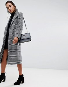 Read more about Helene berman rever collar oversized houndstooth check coat in wool blend - black white check