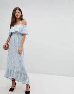 Read more about Missguided bardot floral maxi dress - blue