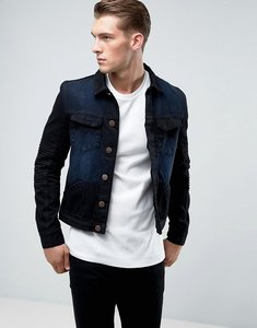 Read more about Juice biker detail denim jacket - black