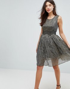 Read more about Amy lynn metallic skater dress - gold