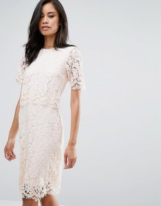 Read more about Club l lace detail overlay midi scallop dress - blush pink