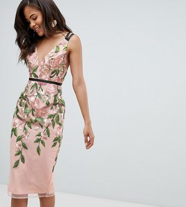 Read more about Asos design tall floral embroidered pencil midi dress - floral
