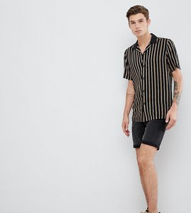 Read more about Asos design tall regular fit stripe shirt with revere collar in black - black