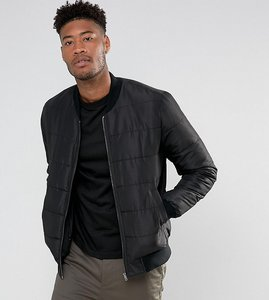 Read more about Asos tall quilted bomber jacket in black - black