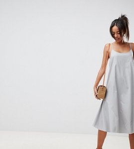 Read more about Asos design tall trapeze swing lace up back midi sundress - duck egg