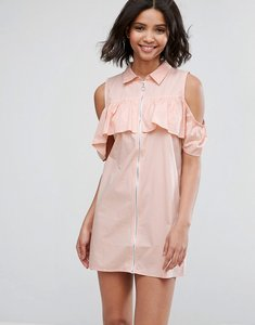 Read more about Influence cold shoulder frill dress with zip detail - pink