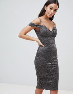 Read more about Ax paris lace pencil dress with sleeve - pewter