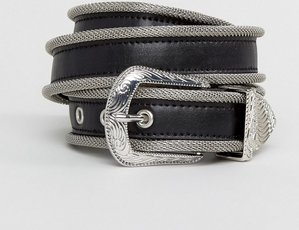 Read more about Asos faux leather skinny belt in black with western buckle and metal trim - black