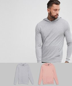 Read more about Asos muscle hoodie 2 pack grey marl pink save - grey marl fairy