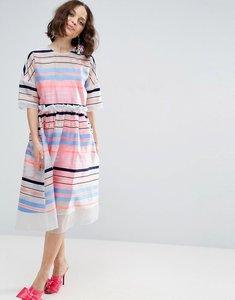 Read more about Asos salon fluro stripe smock dress - multi
