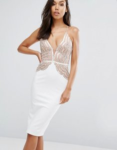 Read more about Rare london pencil dress with scallop lace sequin bodice - cream rose gold