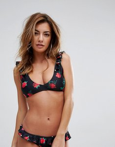 Read more about Missguided mix match rose print frill bikini top - black