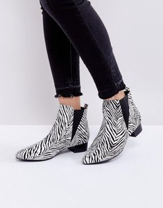 Read more about London rebel mid heel point boot - zebra