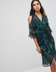 Read more about Hope ivy cold shoulder midi dress with twist front - teal print