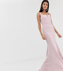 Read more about Jarlo tall square neck maxi dress with built up shoulder in pink